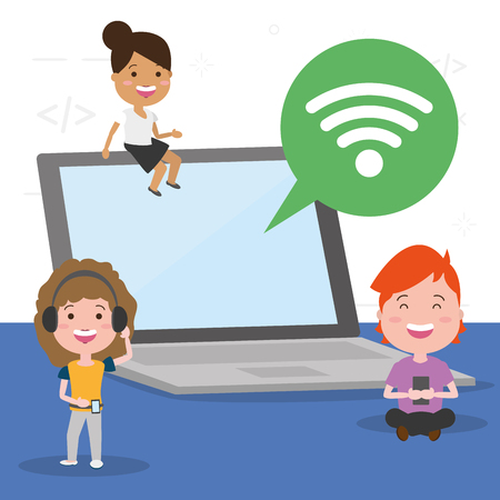 young people laptop internet tech device vector illustration