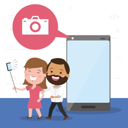 couple taking selfie cellphone tech device vector illustration Çizim