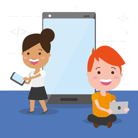 man and woman laptop and cellphone tech device vector illustration Illustration