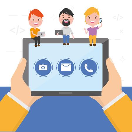 mains avec tablette personnes appareil tech vector illustration Vecteurs