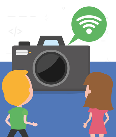 people photographic camera internet tech device vector illustration