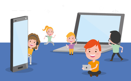 group people using tech devices vector illustration