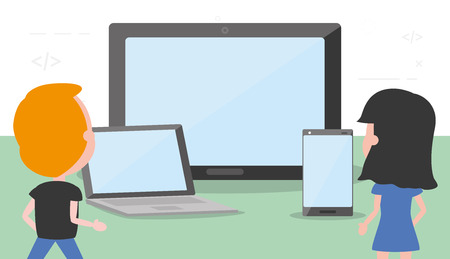 man and woman with tech devices vector illustration