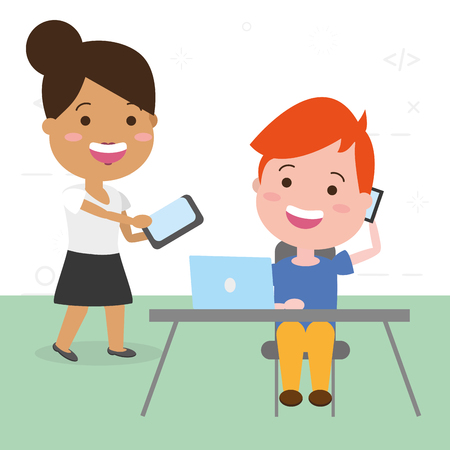 people working office tech devices vector illustration Ilustrace