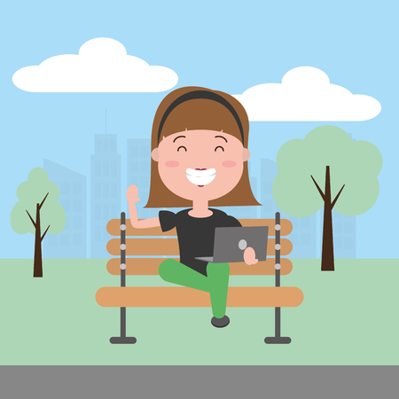young woman using laptop in the park vector illustration 일러스트