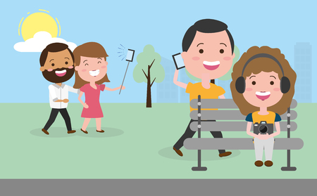 people in the park with tech devices vector illustration