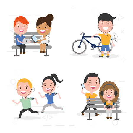 people activities using technological devices vector illustration Ilustrace