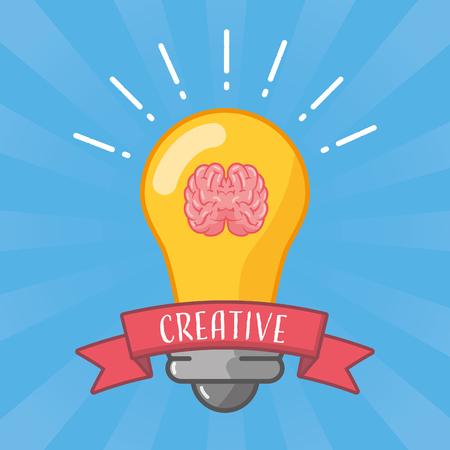 bulb idea brain idea creativity vector illustration Çizim