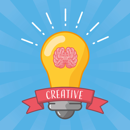 bulb idea brain idea creativity vector illustration Illustration