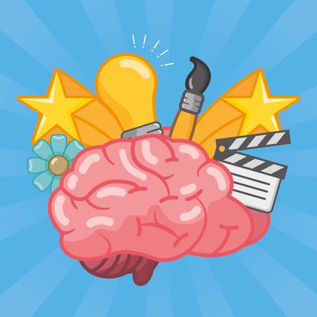 brain bulb brush stars idea creativity vector illustration