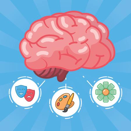 brain artistic art idea creativity vector illustration