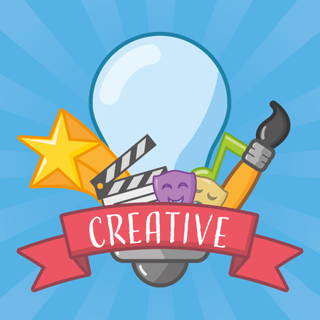 bulb brush art movie idea creativity vector illustration