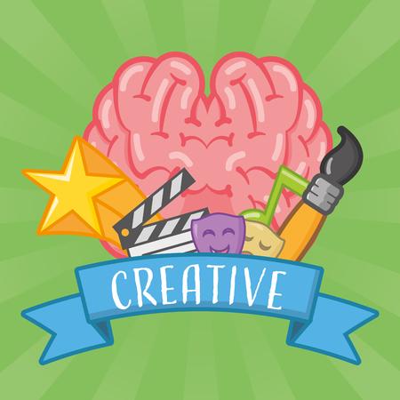 brain art movie brush ribbon idea creativity vector illustration Stock Vector - 124907552