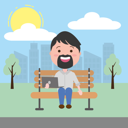 bearded man using laptop in the park vector illustration