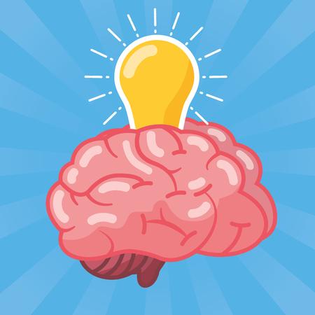 brain bulb light idea creativity vector illustration Çizim