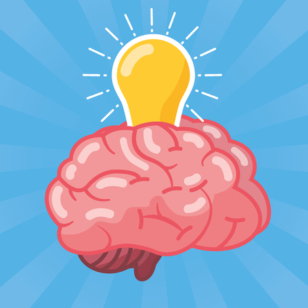 brain bulb light idea creativity vector illustration Illustration
