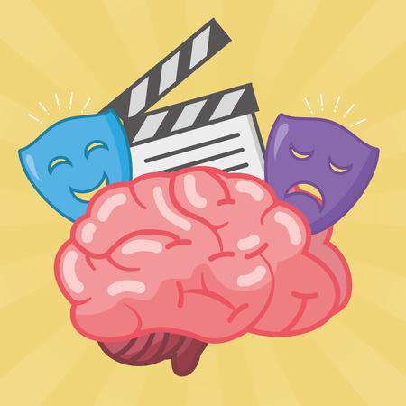brain movie theater idea creativity vector illustration Ilustrace
