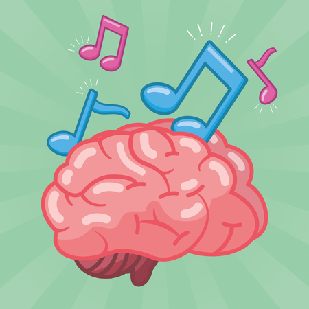 brain note musical idea creativity vector illustration