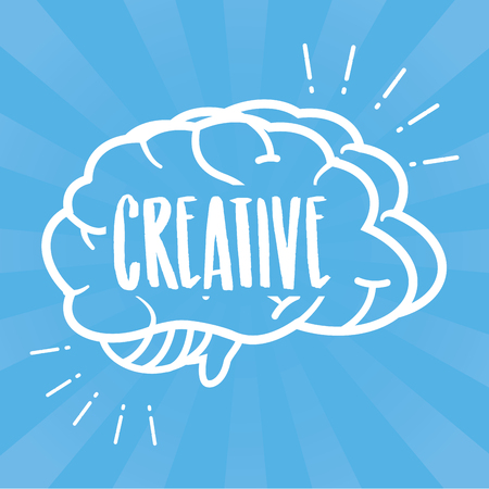 blue background outline brain idea creativity vector illustration