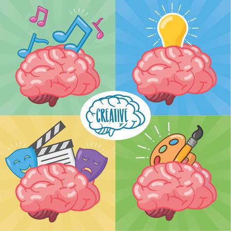 set of brains idea creativity arts vector illustration