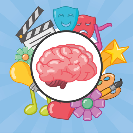 brain idea creativity banner arts vector illustration