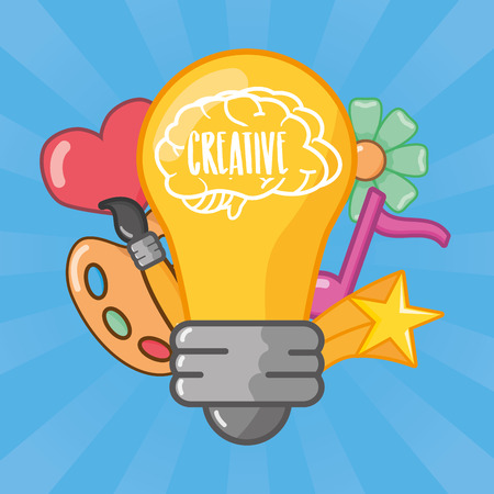 bulb brain idea creativity emotion art music vector illustration