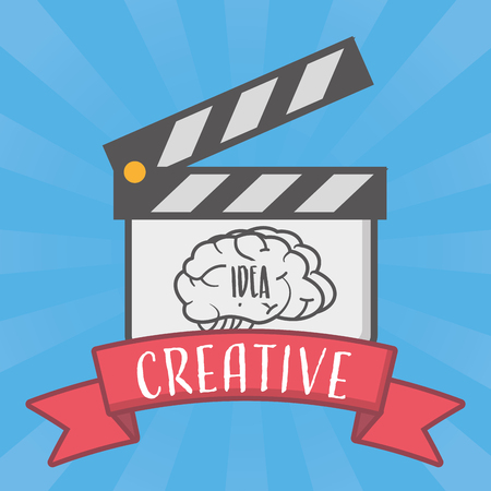 brain idea creativity clapperboard film vector illustration