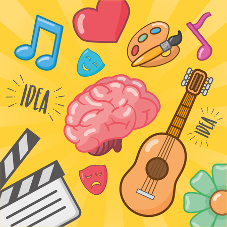 brain idea creativity feeling music arts vector illustration Illustration