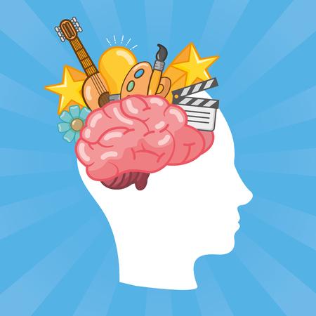 head with brain idea creativity arts vector illustration