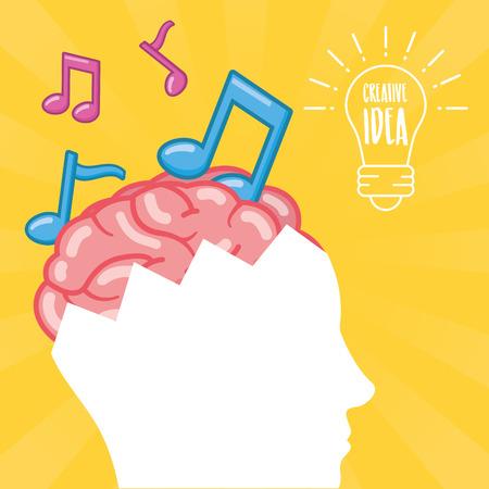 head with brain idea creativity note musical vector illustration