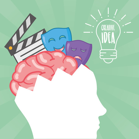 head with brain idea creativity theater art vector illustration