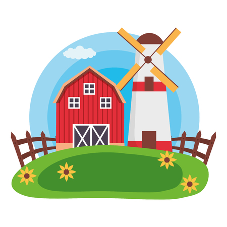 barn windmill house fence farm vector illustration Illustration