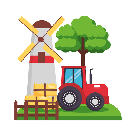barn windmill tractor bales of hay tree vector illustration Иллюстрация
