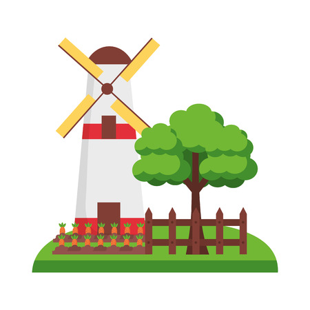 windmill tree carrots and fence farm vector illustration Çizim