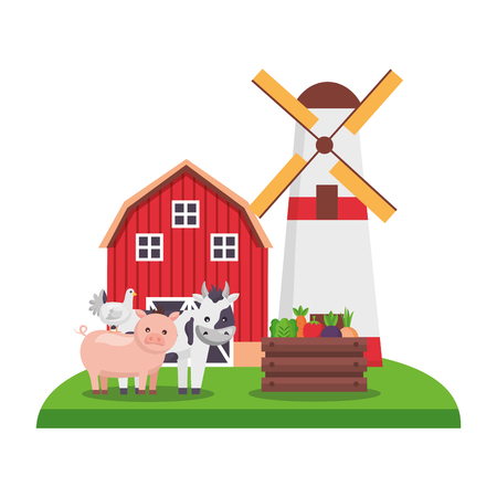 barn windmill cow pig hen and vegetables farm vector illustration Banque d'images - 124907576