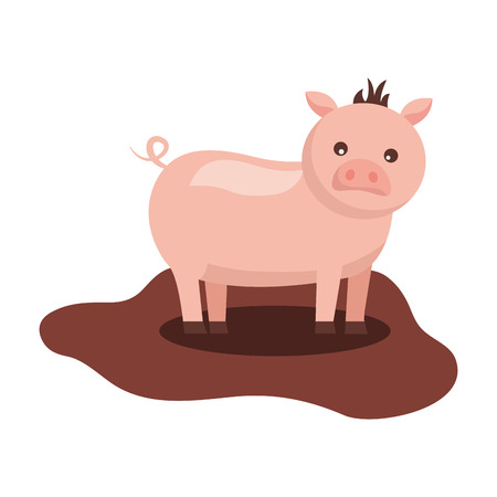 cute pig animal domestic farm vector illustration Illustration