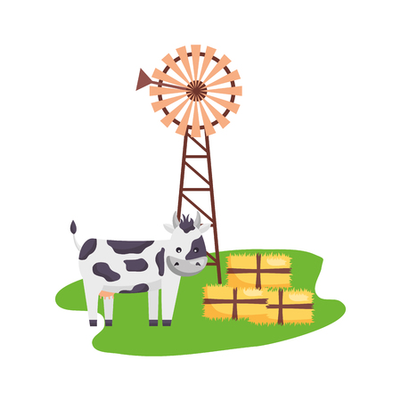 cow windmill bales of hay farm vector illustration Иллюстрация