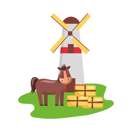 horse windmill and bales of hay farm vector illustration