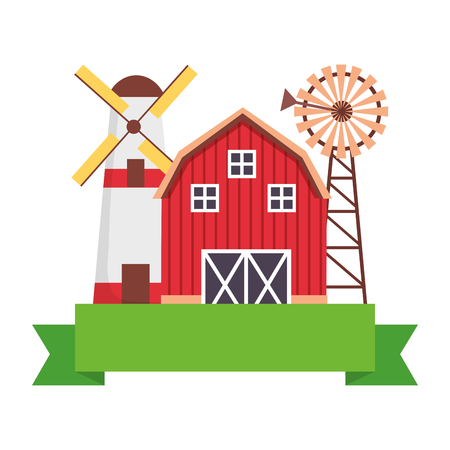 barn windmill storage farm emblem vector illustration Stock Vector - 124860984