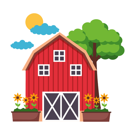 barn potted  flowers tree farm vector illustration vector illustration