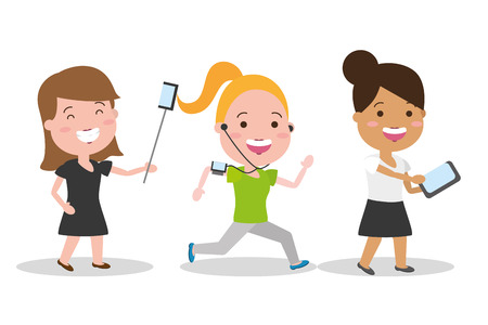 group women with mobile laptop tech device vector illustration