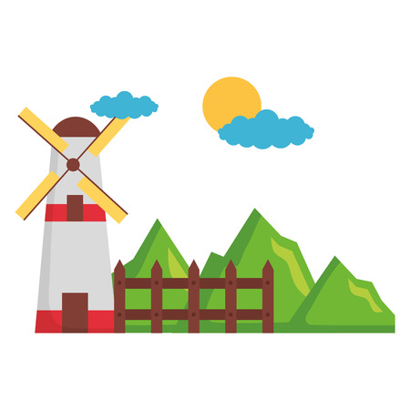 windmill fence mountains sky farm vector illustration