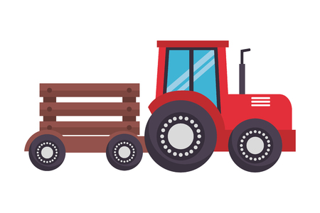 tractor with trailer transport farm vector illustration Banque d'images - 124860997