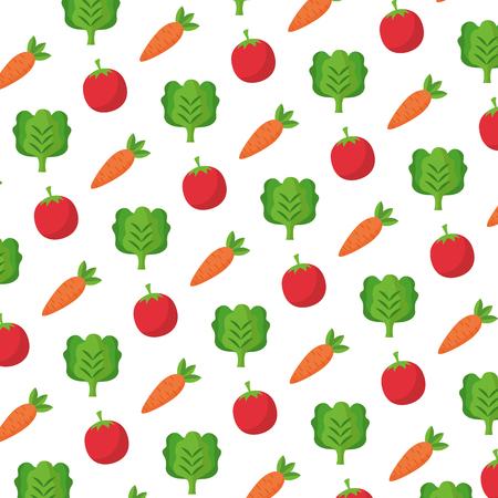 farm vegetables fresh tomato carrot lettuce background vector illustration Stok Fotoğraf - 124860999