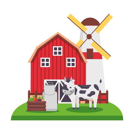 barn windmill cow farm vector illustration 일러스트