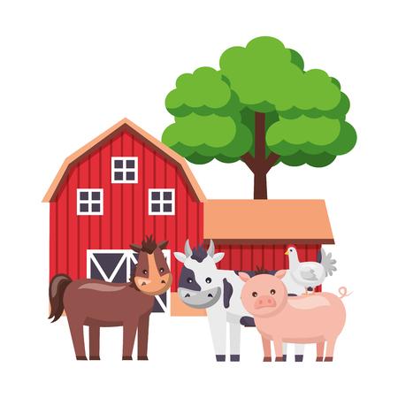 horse cow pig hen barn animals tree farm vector illustration