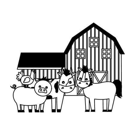 horse cow pig hen barn animals farm vector illustration