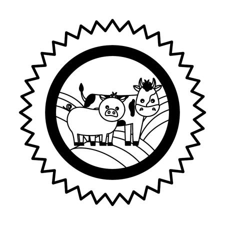 cow pig and hen farm emblem badge vector illustration Illustration