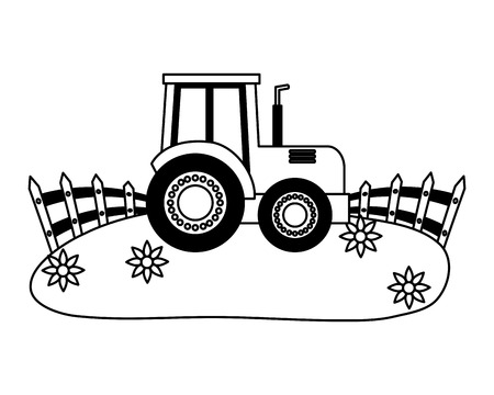 tractor in the grass farm vector illustration