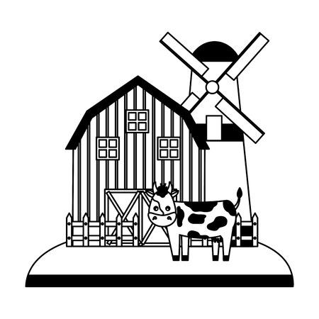 barn windmill cow fence farm vector illustration